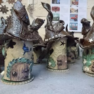 Fairy Houses using stoneware clay